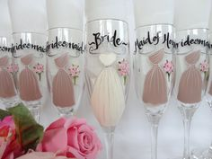 EXACT DRESS REPLICAS - Hand Painted Bridesmaid Champagne Glasses - Bridesmaid Wine Glasses - Bridesmaid Gifts - Bridal Party Gifts, Gifts by samdesigns22 on Etsy