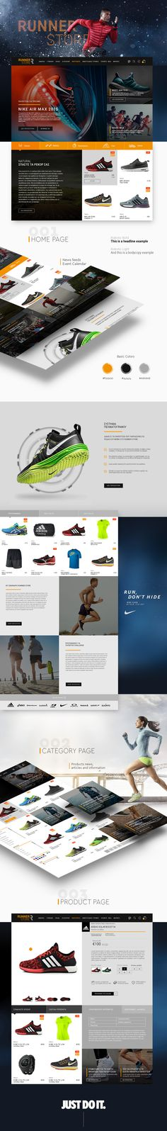 RUNNER STORE Graphic Design, UI/UX, Web Design.  The aim is to create a modern, aesthetic, clean and efficient thematic e-shop where the image and the whole philosophy right will be displayed.