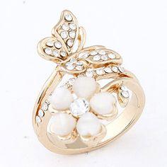 Plussize Beige Flower Decorated Simple Design Alloy Korean Rings  www.asujewelry.com