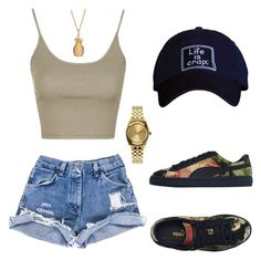 """""""Untitled #108"""" by fingerfckmyswag ❤ liked on Polyvore featuring Topshop, Puma, Rachel Jackson and Nixon"""