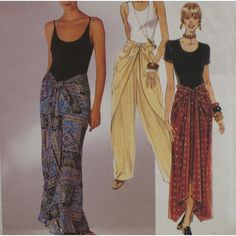 Vintage McCalls 7682 Misses Tie Front Wrap Pants and Tie Front Scarf Skirt… Skirt Patterns Sewing, Mccalls Patterns, Clothing Patterns, Skirt Sewing, Sarong Skirt, Wrap Pants, Shorts, Skirt Pants, Pants Pattern