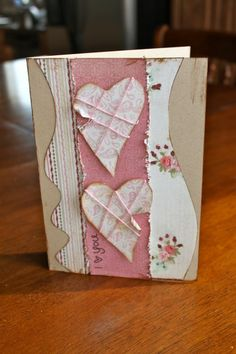 Shabby Handmade Double The Love Valentine Card...with stitching on the hearts.  Kiwi Lane Designs: More Heart Felt Valentine Cards.