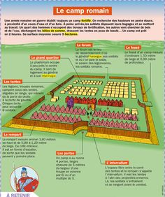 Science infographic and charts Le camp romain Infographic Description Le camp romain Plus - Infographic Source Latin Language, French Language Learning, Study French, Learn French, Ancient Rome, Ancient History, Medical Mnemonics, Rome Antique, Empire Romain