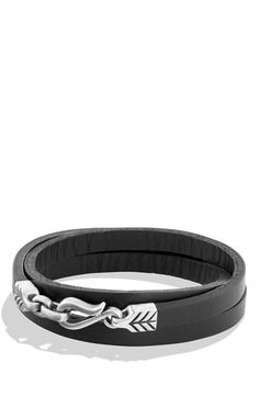 David Yurman 'Petrvs - Chevron' Triple-Wrap Bracelet in Black Leather available at #Nordstrom