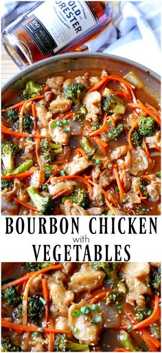 Bourbon chicken recipe that includes broccoli, carrots, and onions for a full meal. Less sugar than most bourbon chicken recipes, but still full of flavor. Easy Chicken Recipes, Turkey Recipes, Dinner Recipes, Dinner Ideas, Recipe Chicken, One Pan Meals, Easy Meals, Bourbon Chicken, Balsamic Chicken