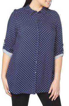 Evans Evans Polka Dot Shirt (Plus Size) available at #Nordstrom