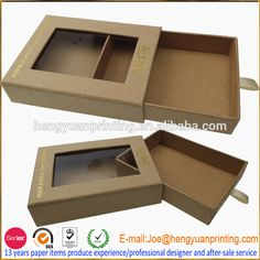 Look what I found Via Alibaba.com App: - Eco friendly packaging box Kraft paper drawer box with window CH940
