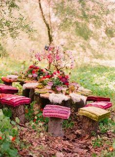 Pull up a stump... 30 Delightful Outdoor Dining Area Design Ideas