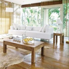 love the combination of white, glass, and wood