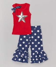 Another great find on #zulily! Beary Basics Red & Silver Star Tank & Ruffle Pants - Infant, Toddler & Girls by Beary Basics #zulilyfinds