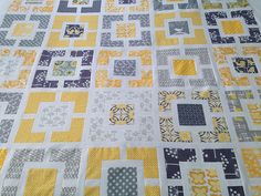 Grey and Yellow quilt in progress - coming together by Blue Bellbird, via Flickr