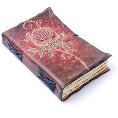 Red Leather Journal with Rose