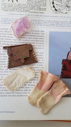 Lot Accessoires sac,chaussettes et mouchoirs Bleuette ancienne