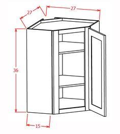 "Wall Diagonal Corner cabinet 15""D"