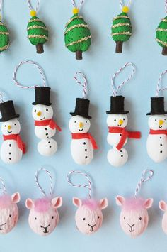 Give mixed nuts a coat of paint and turn them into these playful ornaments! Make these easy and fun ornaments with Apple Barrel paints Christmas Decor Diy Cheap, Felt Christmas Decorations, Beaded Christmas Ornaments, Handmade Ornaments, Handmade Crafts, Glitter Ornaments, Fun Crafts For Kids, Christmas Crafts For Kids, Holiday Crafts