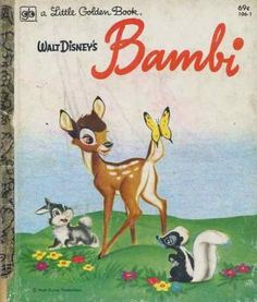 """""""Walt Disney's Bambi"""" Little Golden Book. Recycled Book Journal. Just $14. All Golden Books include the entire text included with the finished journal. Also? Bonus!!! I will, upon request, make a video of me reading ANY golden book to you and post said video to YouTube. Just make a note in checkout page. Here's a link to the Golden Book section of our website: http://bookjournals.com/journals/little-golden-books Or, you know, just click on this image. Love, Jacob"""