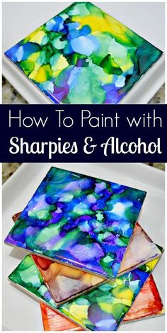 to Paint With Sharpies and Alcohol I have a new favorite crafting project! I painted some tiles with Sharpies and Rubbing Alcohol and the outcome is crazy good! This project is super easy, espec…I have a new favorite crafting project! I painted some tiles Alcohol Ink Crafts, Alcohol Ink Painting, Alcohol Ink Art, Sharpies, Sharpie Crafts, Sharpie Projects, Wax Paper Crafts, Sharpie Designs, Cardboard Crafts