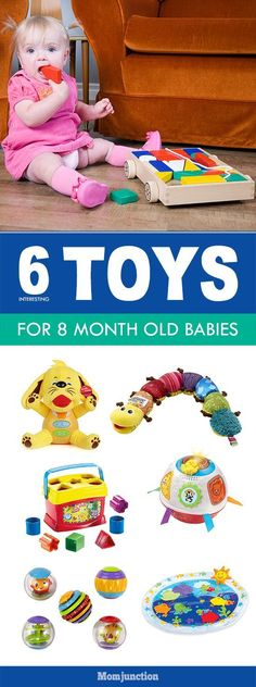 Are you looking for some toys for 8 month old baby? Here are the ideas. These toy activities will surely encourage her motor development & cognitive skills. 8 Month Old Toys, 8 Month Baby Toys, 7 Month Old Baby Activities, 8 Month Old Baby, Infant Activities, Toddler Boy Toys, Baby Boy Toys, Best Baby Toys, Baby Baby