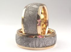 14K Yellow Gold with Meteorite Inlay Ring  by jewelrybyjohan, $1681.00