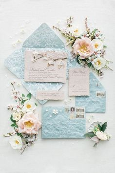 Romantic spring blossom estate wedding inspiration in Northern California, blush wedding invitation with blue envelopes, spring wedding ideas Shine Wedding Invitations, Glitter Invitations, Watercolor Wedding Invitations, Wedding Invitation Design, Wedding Stationary, Fairytale Wedding Invitations, Event Invitations, Spring Wedding Inspiration, Wedding Invitation Inspiration