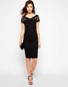 Paper Dolls | Paper Dolls Pencil Dress with Bardot Lace Neck at ASOS