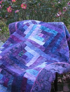 Lap Quilt - Purple Batik - Custom order for Grace by QuiltsintheCity on Etsy
