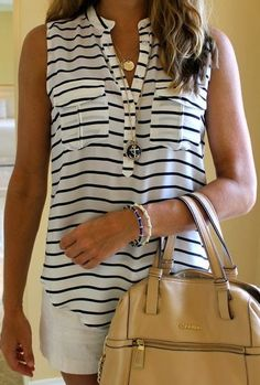 striped top summer bracelet beige handbag women outfit fashion clothing style apparel necklace