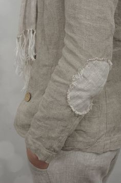 Slim Jacket with Elbow Patches in Herringbone Linen