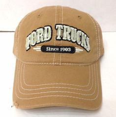 New Nwt FORD TRUCKS HAT Light Brown Tan Distressed Relaxed-Fit Dad-Cap Men/Women #Ford #BaseballCap
