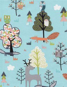 Wasserblauer Stoff aus den USA mit Tieren, Kollektion: Walk in the Woods