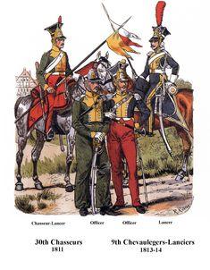 Cacciatori del 3 rgt. della linea e lancieri del 9 rgt. della linea francese