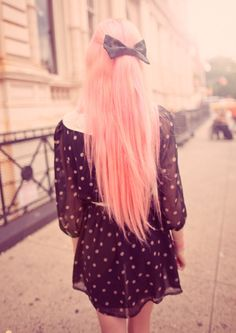 Long pink hair + bow.