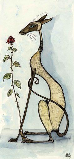 A Single Red Rose - Siamese Cat Art Print. £15.00, via Etsy.