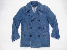 Ralph Lauren Vintage 80s/90s Double Breasted Navy Denim Pea Coat Size S.