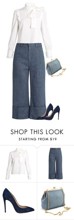 """""""Sem título #661"""" by soniamazeto ❤ liked on Polyvore featuring RED Valentino, Sea, New York and Christian Louboutin"""