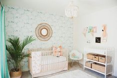 Baby Girl Nursery Palm Leaf Removable Wallpaper, Girls Bedroom Decor, Self adhesive or Traditional material Tropical Nursery, Tropical Girl, Nursery Room, Girl Nursery, Nursery Decor, Nursery Ideas, Mermaid Nursery, Girls Bedroom Wallpaper, Nursery Wallpaper