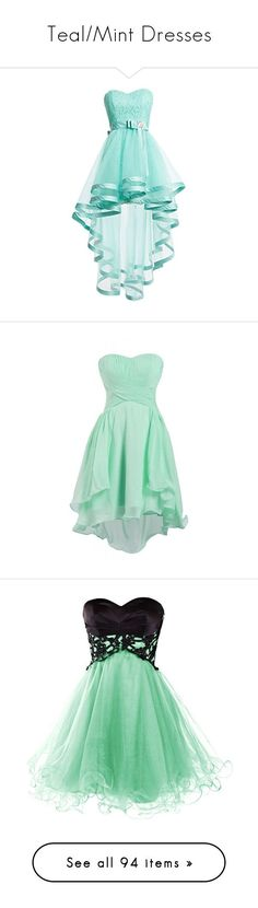 """Teal/Mint Dresses"" by megsjessd99 ❤ liked on Polyvore featuring dresses, short dresses, blue, robes, blue lace dress, prom dresses, blue homecoming dresses, short homecoming dresses, lace prom dresses and chiffon bridesmaid dresses #shortpromdresses"