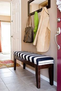solution to a small entry way...narrow bench. Mirror with hooks....less wall holes. #Bench #MirrorWithHooks