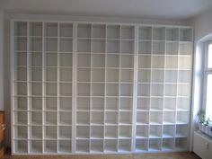 IKEA Hackers: Gigantic Expedit-Bookcase- modification how-to Kallax, Expedit Hack, Expedit Bookcase, Bookshelves Built In, Bookshelf Wall, Billy Bookcases, Yarn Storage, Craft Room Storage, Fabric Storage