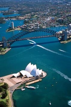 Sydney Opera House & the Harbour Bridge, Australia - aerial view. Places Around The World, The Places Youll Go, Places To See, Around The Worlds, Brisbane, Melbourne, Sydney Australia, Australia Travel, Victoria Australia