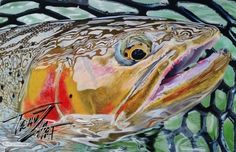 """""""Metallic-Cutt  """" Colored pencil drawing of a Cutthroat Trout by Travis J.Sylvester.  Reference photo courtesy of """"Scott Smith"""""""