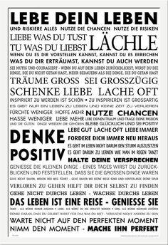 Motivational - Poster - Lebe Dein Leben + Wechselrahmen der Marke Shinsuke® Maxi aus schwerem MDF Holzfaserwerkstoff, weiss - mit Acrylglas-Scheibe.: Amazon.de: Küche & Haushalt
