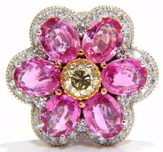 9.33ct natural vivid pink sapphire fancy yellow diamond cluster ring g/vs