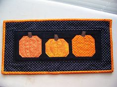 Pumpkin Mini Quilt. Don't normally go for pictorial quilts but this one is perfect.