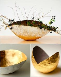 Diy paper mache sculpture projects how to make 60 ideas Paper Mache Diy, Paper Mache Bowls, Paper Mache Projects, Paper Bowls, Paper Mache Sculpture, Diy Paper, Paper Crafts, Diy Projects, Gold Paper
