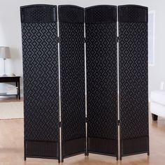 Outdoor/Indoor Woven Resin 4 Panel Room Divider - CDI-137SN4 BLACK