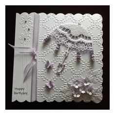 Card made using the new parasol die from Marianne Dies