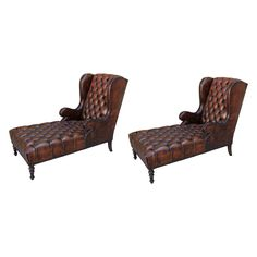 Pair of Leather Tufted Chaises with Nailheads   From a unique collection of antique and modern chaise longues at https://www.1stdibs.com/furniture/seating/chaise-longues/