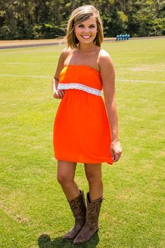 For the Win Dress - Orange/White - Tennessee Gameday Dress. University of Florida Gameday Dress