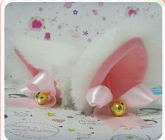 WHITE  fur inner PINK Kitty Cat Ear FOX ear Hair Clip Bell set  pink ribbon Cosplay Costumes Party Black Friday Cyber Monday